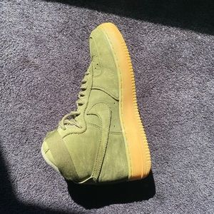 green suede nike air force high tops